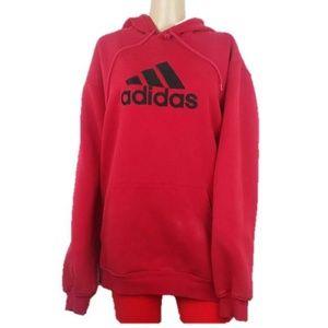 Adidas Red Large Sweatshirt Hoodie